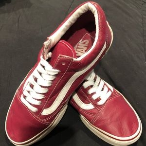 Vans - Old Skool - Leather Red - Size M 7.5 / W 9